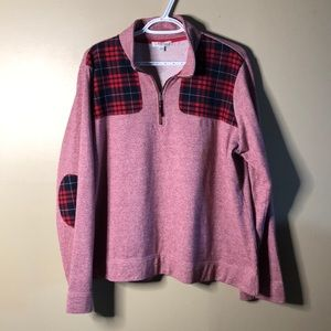 Orvis plaid patched pullover